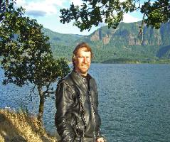 Author, Bruce Hartzell at Columbia River Gorge, Washington Shoreline